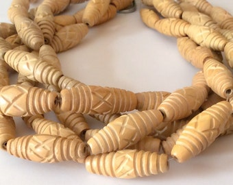 "Carved Wood Beads, Natural Wood Beads, Hambaba Wood 16"" strand"