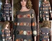 Mesdames Robe - tunique avec coule foulard - collier / crochet