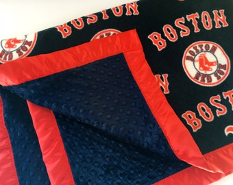 Boston Red Sox Baseball Fleece Blanket with Navy Minky and Red Satin Binding
