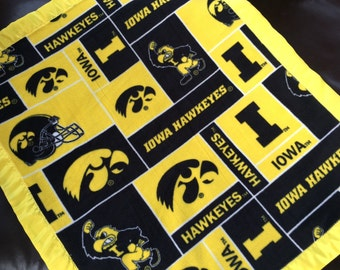 Iowa Hawkeyes Fleece Blanket with Yellow Satin Binding