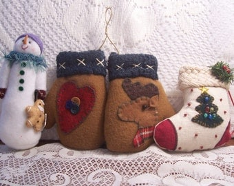 Three Stuffed Christmas Ornaments