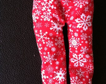 Christmas Shelf Clothes Red Pants with Snowflakes for Boy or Girl Elf or Pixie
