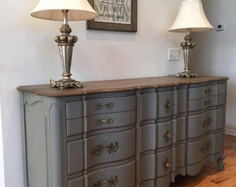 SOLD - Large 11 Drawer Woodtop Grey/Blue Painted Dresser or Buffet