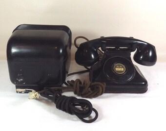 Art Deco Antique Leich Electric Telephone Bakelite No Dial Plus Ringer 1920's