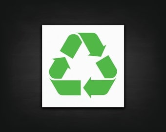 Recycle Symbol Decal - Vinyl Decal, Recycling Bin Sticker