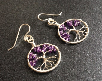 Amethyst Tree of Life Earrings Silver February Birthstone