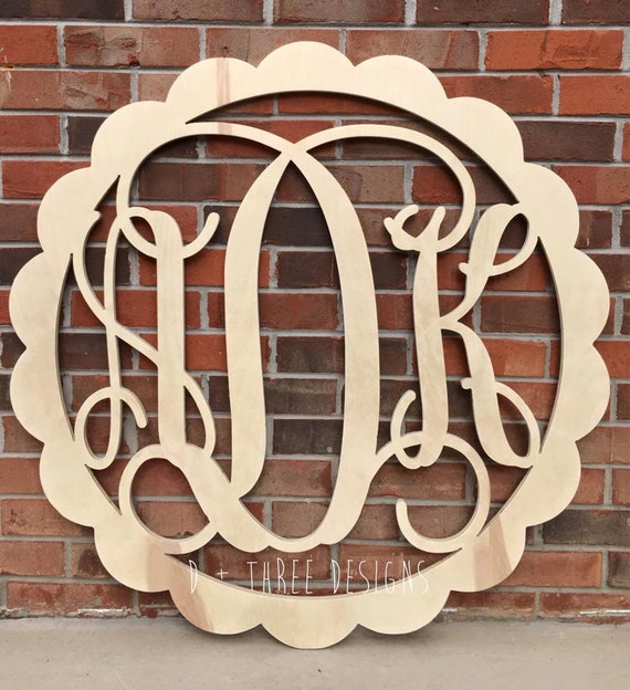 36 inch scalloped wooden monogram wooden letters monogram for 36 inch wooden letters