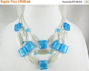 SALE 20% OFF Ocean Blue Glass Beaded Statement Necklace Handmade Multi Strand Silver Plated Necklace