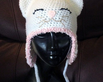Crochet Kitten Hat,Crochet animal hat,Crochet kids hat,Crochet fun hat