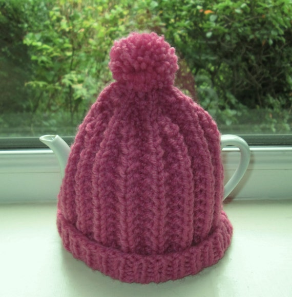Hand Knitted Tea Cosy Patterns : Hand knitted Pink Ribbed Patterned Pom Pom Tea Cosy/Tea Cozy