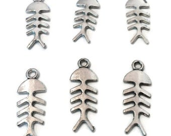 X-Ray Fish Charms - Charms - Skeleton Fish Charms - Bone Fish Charms - Silver Fish Charms - Jewelry Supplies - Silver Charms