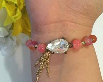 Glitzy peach bracelet