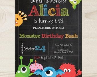 Printable MONSTER BIRTHDAY INVITATION - Little Monster Invitation - Monster Party Invite - Little Monster Invite - First Birthday Invitation