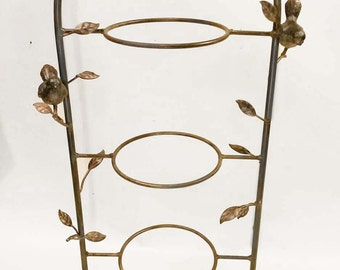 Vintage Iron 3 Tier Stand  or Outdoor Planter with Birds and Leaves Design