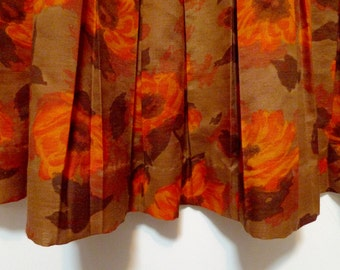 Vintage Orange and Brown Floral Cotton Mad Men Style Garden Dress