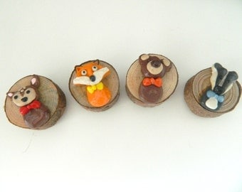 Handmade Polymer Clay Woodland Animals Magnets
