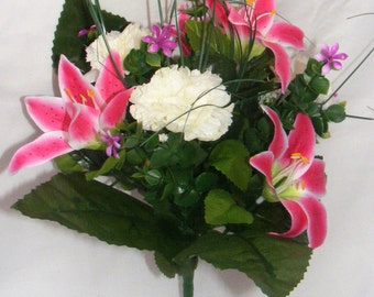 30cm - Bright Pink Lily and Carnation Bush