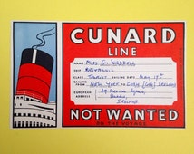 Cunard Line Cruise Ship Not Wanted Baggage Luggage Sticker Label Nautical Original Used Cruise Liner Memorabilia MV Britannic