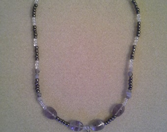 Grey & Clear Crystal Beaded Necklace