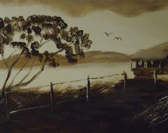 The windswept tree in mono colour.Original painting by Francis Logan. free p&p