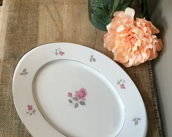 "Vintage Maxine by Wyndham fine china, Japan. 14"" serving platter, pink floral, Dinnerware"