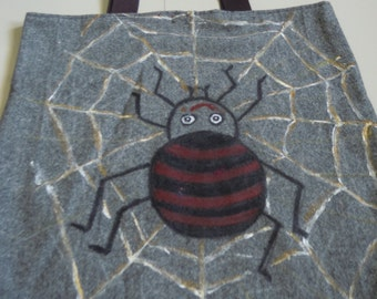 Handmade Upcycled Spider Painted Shoulder Bag: Cotton, Gray