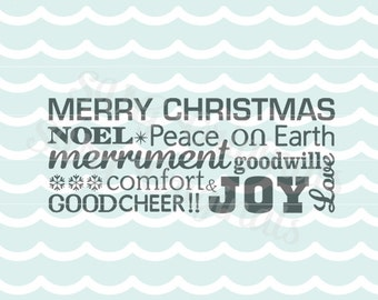 Christmas Merry Christmas words collage SVG. Perfect for christmas cards and more! Cricut Explore and more.