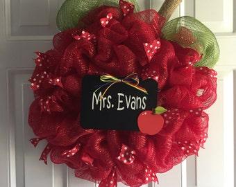 Back to School wreath, Classroom decor, Teacher Wreath, Teacher gift