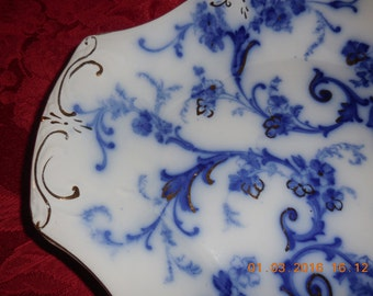 "Flow Blue Gainsborough 15"" Platter"