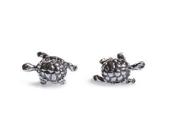 Henryka Silver Tortoise Stud Earrings