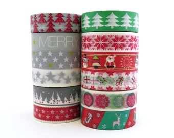 Washi Tape Set Christmas Red Green 12 x 10m