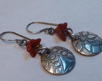 Textured Fine Silver Drop Earrings