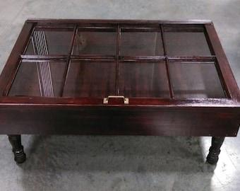 ON SALE Distressed Wood Shadow Box Coffee Table   Window Coffee Table   Re  Purposed Coffee