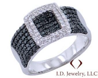 White and Black Diamond Buckle Ring  in 18K White Gold -IDJ009880