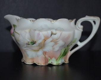 RS Prussia Porcelain RS Germany Floral Creamer Cottage Chic Decor