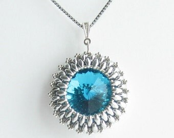 Necklace - Capri Blue, Silver, 18 inch Stainless Steel Chain