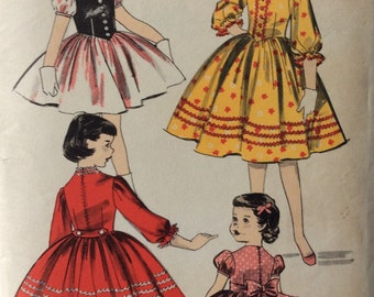 Advance 8142 girls Tyrolean dress size 10 vintage 1950's sewing pattern