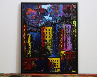 Abstract Cityscape, Industrial Urban Landscape, Colorful City Landscape Wall Art, Framed City Buildings Painting