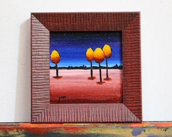 Stocking Stuffer Miniature Yellow, Orange, and Red Tree Painting, Small Red Framed Tree Original Wall Art