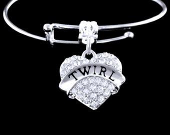 Twirl bracelet Baton Twirl bracelet Twirler gift Baton twirling gift girl with a twirl Twigs and twirls