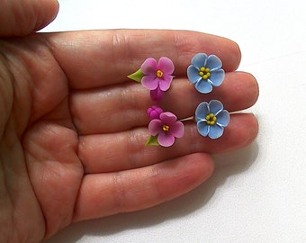 Lilac & forget-me-not stud earrings set-Clay flowers-Floral earrings-Gift for women