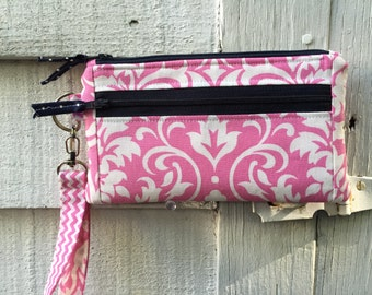Sale! Pink Damask Zipper Wristlet, Bridesmaid Wallet, Purse, Pouch, clutch with two outside pockets, swivel hook handle two navy zippers