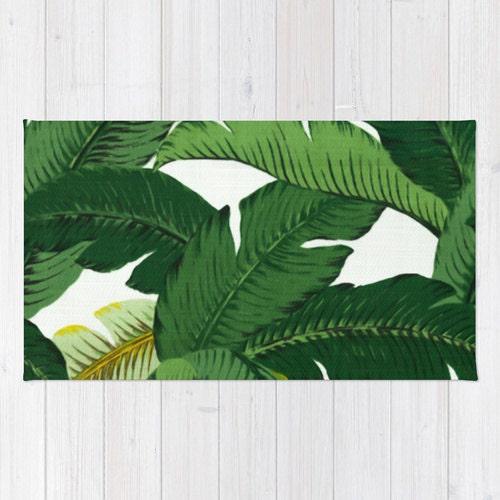 palm leaf area rug 2x3 rug banana leaves rug 3x5 rug 4x6 area. Black Bedroom Furniture Sets. Home Design Ideas