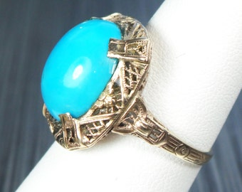 Antique Turquoise Ring 10k Antique Gold Filigree Ring Floral Vintage Turquoise Ring Robins Egg Blue Turquoise Art Deco