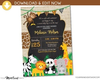 Jungle Safari Baby Shower Invitation - Jungle Shower Invites - Safari Animal Invitation - Neutral Baby Shower Party - Instant Download