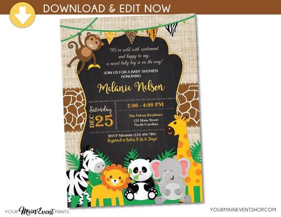 Jungle Safari Baby Shower Invitation - Jungle Shower Invites - Safari Animal Invitation - Neutral Baby Shower Party - Instant Download