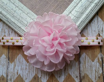 Pink flower headband, Pink and Gold flower headband, baby headband, girls headband, big flower headband, pink gold white headband