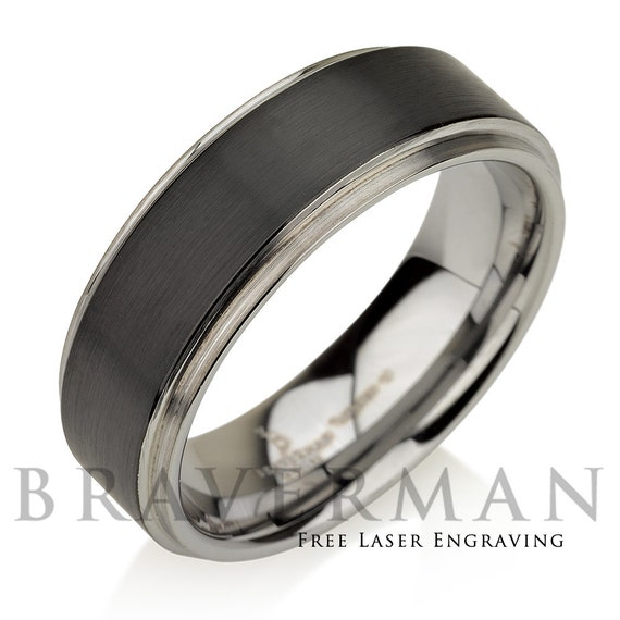 Tungsten Wedding Band, Tungsten Band, Black Tungsten Ring Gun Metal Band Tungsten Carbide Wedding Band Anniversary Ring Engagement