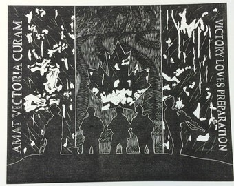 "Linocut relief prints. Canadian Military or Barrett M99 10""x12"""