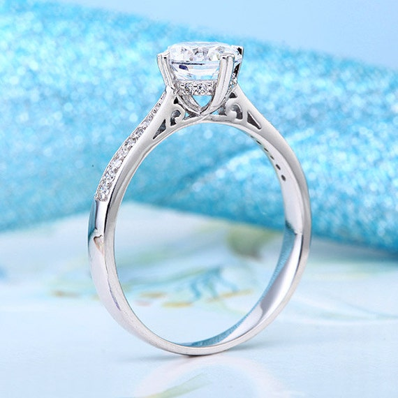 Classic lab created diamond engagement ring 925 by for Lab created diamond wedding rings